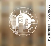 london vector round linear logo.... | Shutterstock .eps vector #490088386