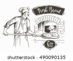 baker in uniform taking out... | Shutterstock .eps vector #490090135