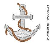 anchor. vector illustration... | Shutterstock .eps vector #490090195
