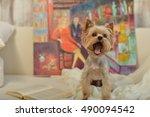 Dog York On The Fabric. Sweet...