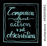 compassion without action is... | Shutterstock .eps vector #490095892