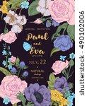 vintage floral vector wedding... | Shutterstock .eps vector #490102006