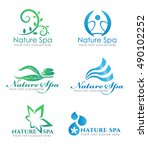 flower leaf logo and water wave ... | Shutterstock .eps vector #490102252