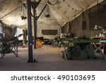 Details of the interior of a army tent