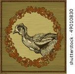 hen in vintage frame | Shutterstock .eps vector #49010830