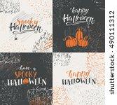 vector set of  halloween... | Shutterstock .eps vector #490111312