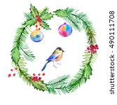 christmas wreath watercolor... | Shutterstock . vector #490111708