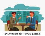 two businessmen drinking coffee ... | Shutterstock .eps vector #490112866