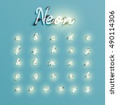 realistic neon character... | Shutterstock .eps vector #490114306