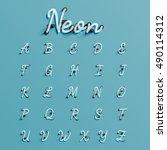 realistic neon character... | Shutterstock .eps vector #490114312