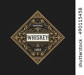 old whiskey label | Shutterstock .eps vector #490115458