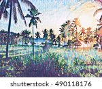 sunset landscape with coco palm ... | Shutterstock . vector #490118176