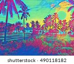 sunset landscape with coco palm ... | Shutterstock . vector #490118182