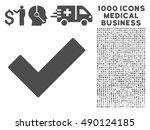 gray ok tick icon with 1000...
