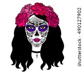girl with sugar skull makeup.... | Shutterstock .eps vector #490127902