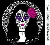 girl with sugar skull makeup.... | Shutterstock .eps vector #490127992