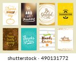 thanksgiving day typography set.... | Shutterstock .eps vector #490131772