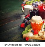 fruit and berry jam with...   Shutterstock . vector #490135006