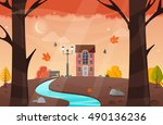 nature landscape. vector 10 eps.... | Shutterstock .eps vector #490136236