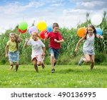 excited elementary school age...   Shutterstock . vector #490136995
