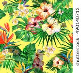 beautiful tropic pattern with... | Shutterstock . vector #490140712