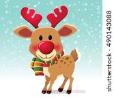 christmas reindeer  red nose.... | Shutterstock .eps vector #490143088