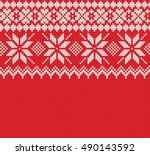 norway festive sweater fairisle ... | Shutterstock .eps vector #490143592