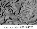 crumpled grey fabric texture   Shutterstock . vector #490143595