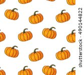 orange halloween cartoon ... | Shutterstock .eps vector #490144822