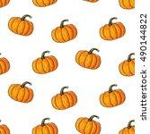 orange halloween cartoon ... | Shutterstock .eps vector #490144822