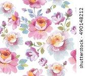wildflower rose flower pattern... | Shutterstock . vector #490148212
