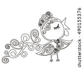 birds coloring book.chinese... | Shutterstock .eps vector #490155376