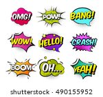 collection of nine multicolored ... | Shutterstock .eps vector #490155952
