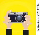 flat illustration of retro... | Shutterstock .eps vector #490156216