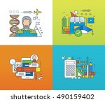 concept of modern education and ... | Shutterstock .eps vector #490159402
