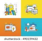 concept of modern education and ... | Shutterstock .eps vector #490159432