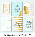 collection of 6 christmas card... | Shutterstock .eps vector #490166155
