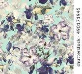 beautiful watercolor spring... | Shutterstock . vector #490171945