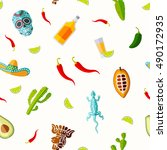 seamless pattern with mexican... | Shutterstock .eps vector #490172935