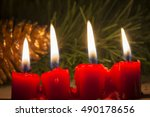 Four Red Christmas Candle With...