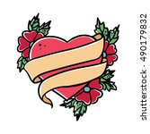 tattoo heart with ribbon. old... | Shutterstock .eps vector #490179832