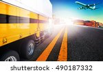 container truck and freight... | Shutterstock . vector #490187332