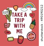 take a trip with me slogan with ... | Shutterstock .eps vector #490190212