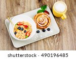 healthy breakfast on wooden... | Shutterstock . vector #490196485