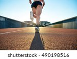 low angle view of female jogger ... | Shutterstock . vector #490198516