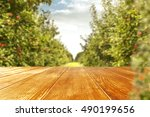 autumn background of trees and... | Shutterstock . vector #490199656