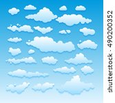 blue sky with clouds vector... | Shutterstock .eps vector #490200352