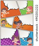 comic book page with children... | Shutterstock .eps vector #490201222