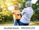 senior couple having fun and... | Shutterstock . vector #490202152