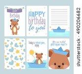 happy birthday card  baby boy | Shutterstock .eps vector #490206682
